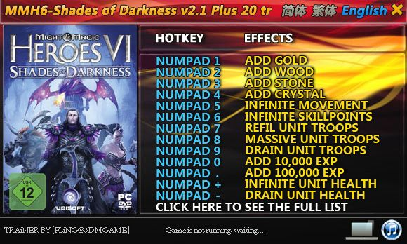 Might and Magic Heroes VI: Shades of Darkness v2.1 +20 Trainer [FliNG]